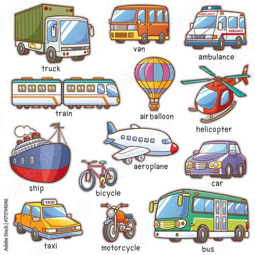 Foto op Canvas Op straat Vector Illustration of Cartoon Transportation vocabulary