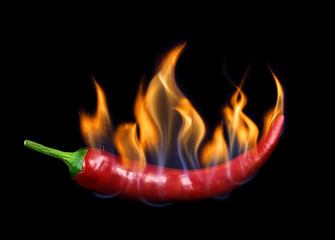 Panel SzklanyChili pepper in flame on a black background.