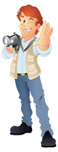 Young Photographer  Vector Clip-art Illustration