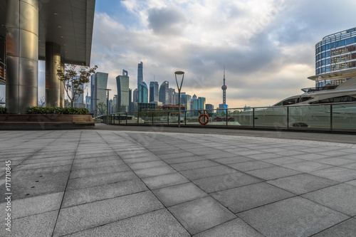City square and modern architectural scenery in Shanghai, China Poster