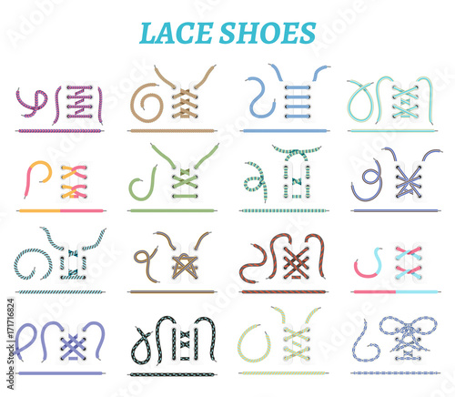 Shoe Lacing Methods Icons Set Poster Mural XXL