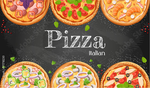Pizza Menu Chalkboard Cartoon Background With Fresh Ingredients Vector Illustration Pizzeria Flyer Two