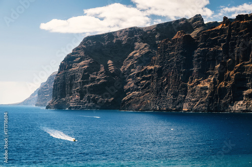 Tuinposter Canarische Eilanden Aerial view of Los Gigantes cliffs on Tenerife. The boat sails in ocean. Canary islands, Spain.