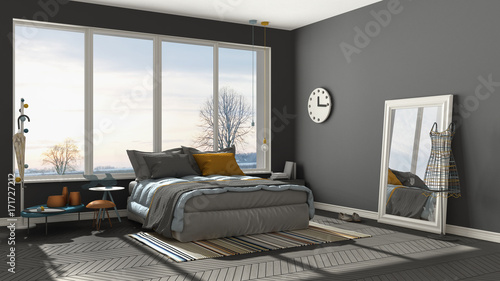 Colored Modern Gray Bedroom With Big Panoramic Window Sunset - Gray-bedroom-minimalist