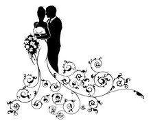 Bride And Groom Wedding Concept Silhouette
