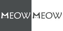 Logotipo MEOW Con Cabeza Gato En M En Gris Y Blanco