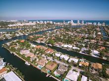 Aerial View Of Fort Lauderdale Las Olas Isles, Florida, USA