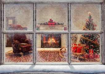 Fototapeta Boże Narodzenie/Nowy Rok Christmas scene through window 3D Rendering