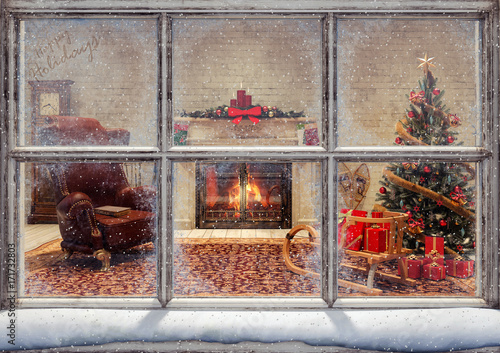 Christmas scene through window 3D Rendering