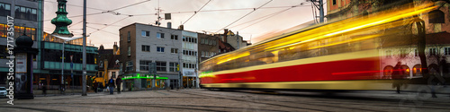 Leinwand Poster Blurred tram in the center of Bratislava, Slovakia