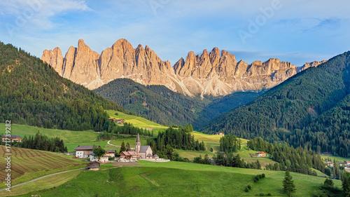 Fototapeta Geisler or Odle mountain peaks in the Dolomites at the Golden Hour, Italy, HDR obraz