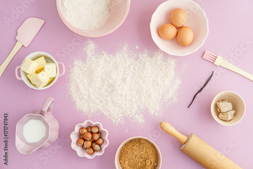 Flatlay collection of tools and ingredients for home baking with Flour copyspace Poster Mural XXL