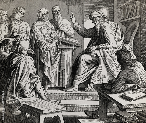 Valokuva prophet preaching to the people in temple, graphic collage from engraving of Nazareene School, published in The Holy Bible, St