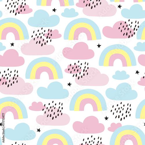 fototapeta na ścianę seamless rainbows and clouds pattern vector illustration