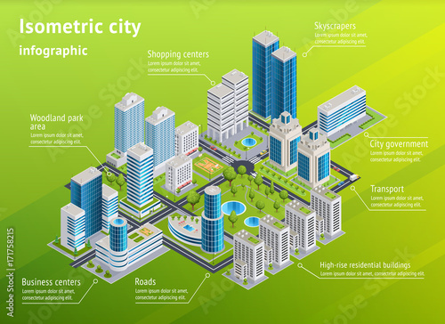 Photo  City Infrastructure Isometric Infographics