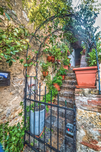 Poster Smal steegje Picturesque stairway in Tuscany