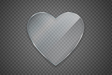 Vector Isolated Realistic Heart Glass On The Transparent Background For Decoration And Covering.