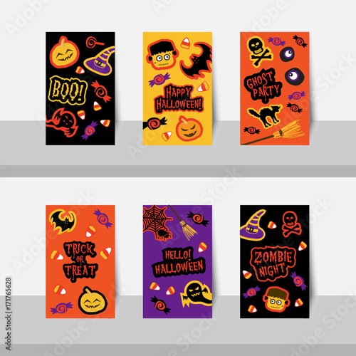 Set Of Halloween Small Cards Vector For Halloween Party Halloween Night Trick Or Treat For Scrapbook Gift Tags Ghost Skeleton Skull Pumpkin Bat Cat Spider Monster Eye And Jack O Lantern Buy This