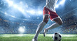 Leinwanddruck Bild - Soccer player kicks the ball on the soccer stadium. He wear unbranded sports clothes. Stadium and crowd made in 3D.