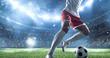 Leinwandbild Motiv Soccer player kicks the ball on the soccer stadium. He wear unbranded sports clothes. Stadium and crowd made in 3D.