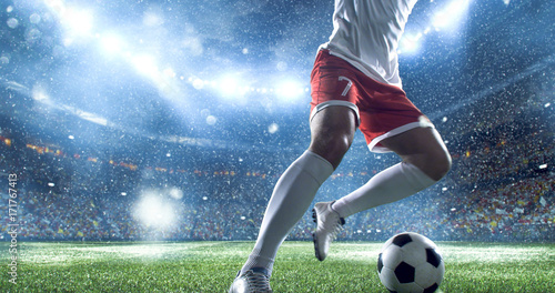 Fotografie, Tablou  Soccer player kicks the ball on the soccer stadium