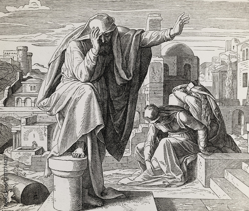 Obraz na płótnie The cry of Jeremiah the prophet, graphic collage from engraving of Nazareene School, published in The Holy Bible, St
