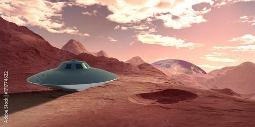 Fototapeta Niezwykle szczegółowa i realistyczna 3d ilustracja statku kosmicznego ufo wylądował na ziemi jak egzoplaneta.