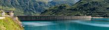 Dam Panorama On Mountain In Su...