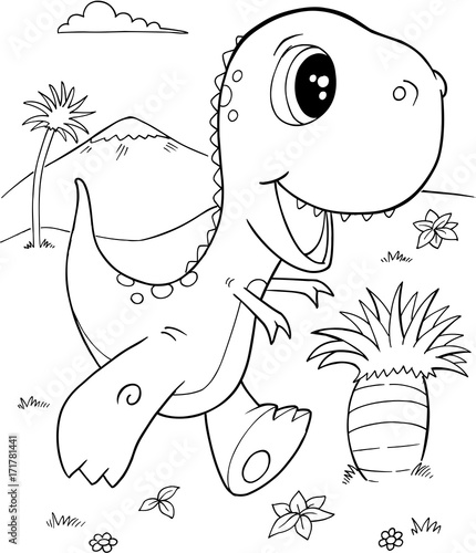 Papiers peints Cartoon draw Cute Tyrannosaurus rex Dinosaur Vector Illustration Art