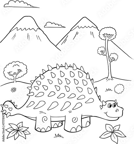 Papiers peints Cartoon draw Cute Ankylosaurus Dinosaur Vector Illustration Art