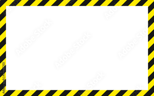 Fotografia  warning striped rectangular background, yellow and black stripes on the diagonal