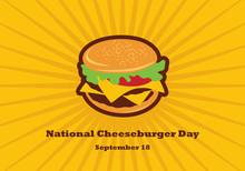 National Cheeseburger Day Vector. Burger Cartoon. Cheeseburger Vector. Important Day