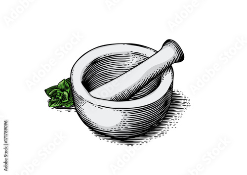 Mortar bowl and pestle with herb Fototapeta