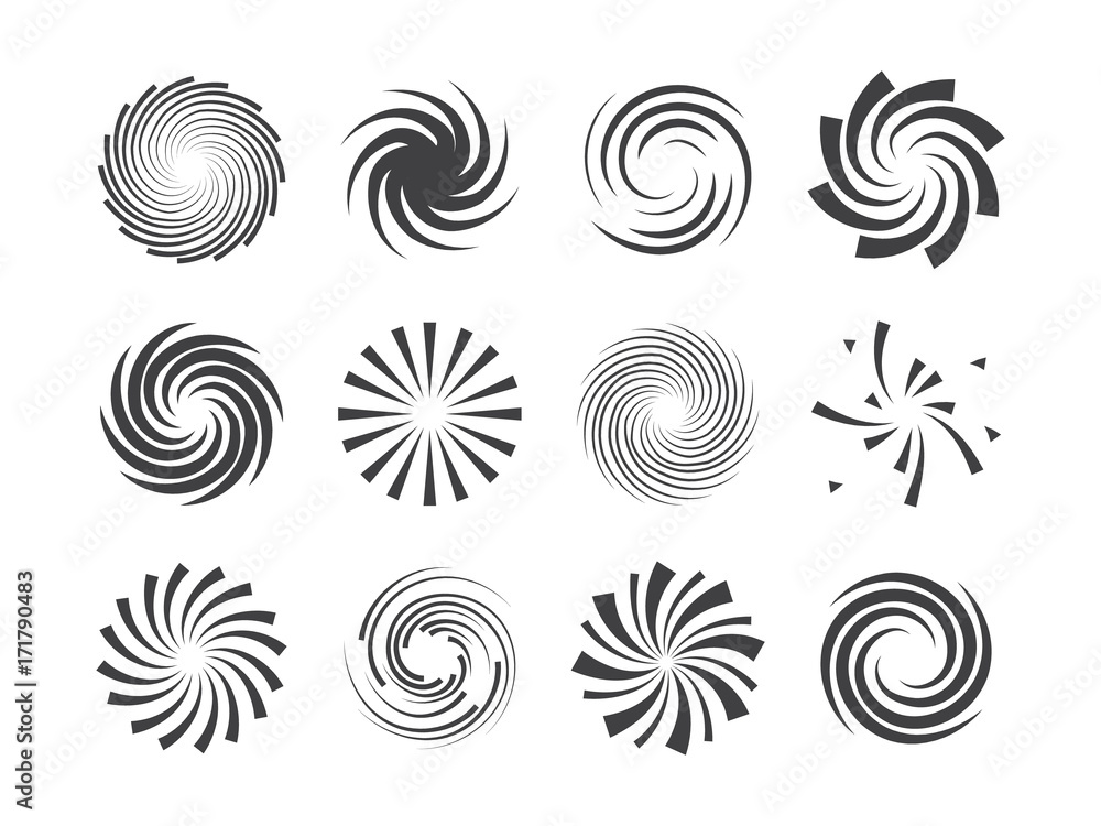 Fototapeta Spiral and swirl motion twisting circles design element set