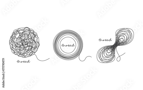 Slika na platnu Thread ball and ravel icon set isolated on white