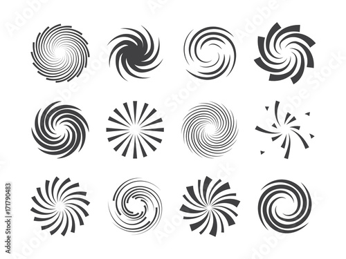 Obraz Spiral and swirl motion twisting circles design element set - fototapety do salonu