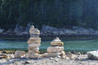 Cairns on rocky inlet