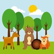 forest and animals wildlife natural vector illustration
