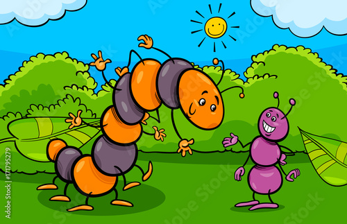 Fotografie, Obraz  ant and caterpillar insect cartoon characters