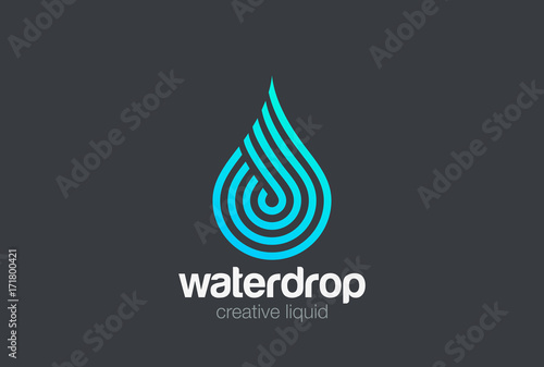 Fotografering Water drop Logo vector Linear. Blue Droplet lines aqua icon