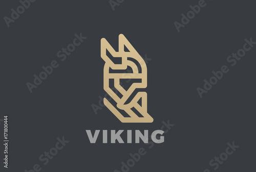 Photo  Viking Odin Head Helmet Beard Logo vector Linear vintage icon
