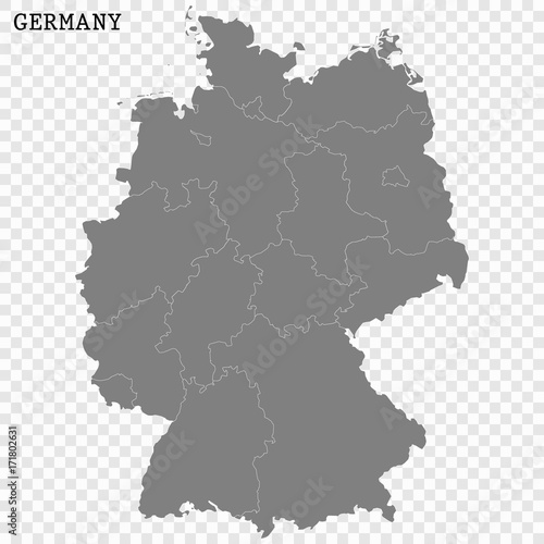 Map Of Germany And Surrounding Counties.High Quality Map Of Germany With Borders Of The Regions Or Counties