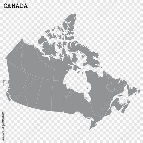 High quality map of Canada  with borders of the regions or counties