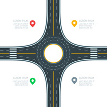 Roundabout Road Junction, Isolated On White Background, Vector Illustration. Infographics Template With Copy Space. Empty Asphalt Crossroad With Marking. Street Traffic And Transport Design Template.