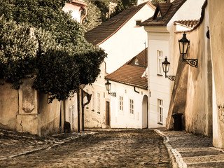 Old medieval narrow cobbled street and small ancient houses of Novy Svet, Hra...