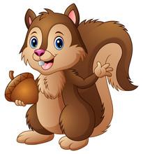 Cartoon Squirrel Holding An Acorn