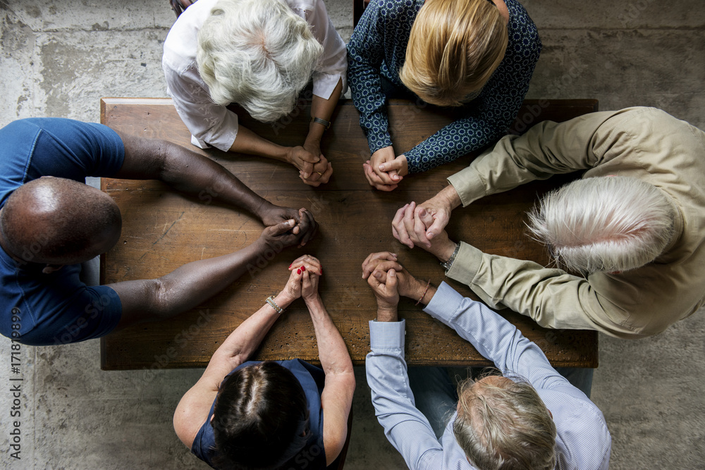 Fototapety, obrazy: Group of christianity people praying hope together