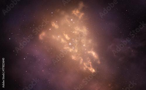 Fotomagnes Galaxy z Golden Bright Shining Mgławica. Gwiaździste niebo. Wszechświat wypełniony gwiazdami.
