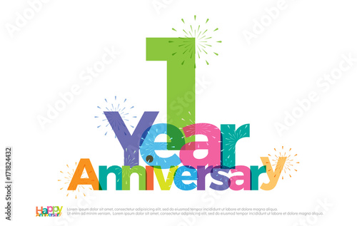 Fototapeta 1 year anniversary celebration colorful logo with fireworks on white background