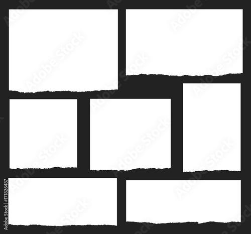 Fotografía  Torn paper vector shapes on a black background